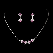 * Necklace Earring Set 327 Fuchsia * 1 Left *