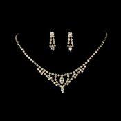 * Necklace Earring Set 340 Gold Clear