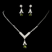 Silver Olive Green Necklace Earring 344