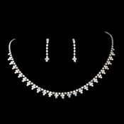* Necklace Earring Set 352 Silver AB