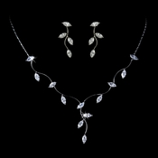 Necklace Earring Set 3522 Silver Clear