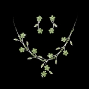 Necklace Earring Set 363 Silver Green * 1 Left *
