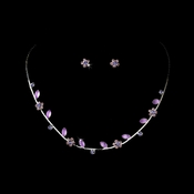 Necklace Earring Set 3734 Silver Amethyst