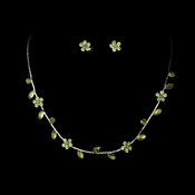 Necklace Earring Set 3734 Silver Green
