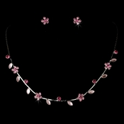 Necklace Earring Set 3734 Silver Pink