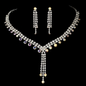 Necklace Earring Set 377 Silver AB