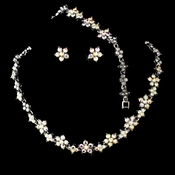 Necklace Earring Set 393 Antique Silver AB