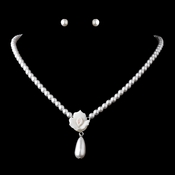 Necklace Earring Set 409 Silver White