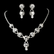 Silver Clear Necklace Earring Set NE 4362