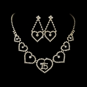 Gold Sweet 15 Quincea�era Rhinestone Heart Necklace & Earring Jewelry Set NE 460***Discontinued***