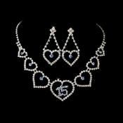 Light Blue Rhinestone Sweet 15 Quincea�era Heart Necklace & Earring Jewelry Set NE 460