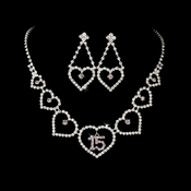 Lilac Rhinestone Sweet 15 Quincea�era Heart Necklace & Earring Jewelry Set NE 460