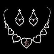 Burgundy Rhinestone Sweet 15 Quincea�era Heart Necklace & Earring Set NE 460