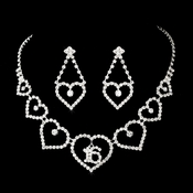 Matching Sweet 16 Rhinestone Necklace Earring Jewelry Set NE 460 Silver