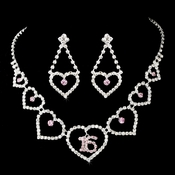 Matching Sweet 16 Pink Rhinestone Necklace Earring Jewelry Set NE 460 Silver