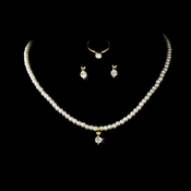Necklace Earring Ring Set 6747 C Gold Clear