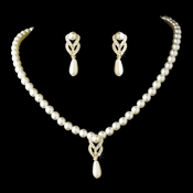 Necklace Earring Set 70075 Gold Ivory