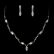 Necklace Earring Set 701 Silver Clear