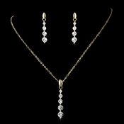 * Necklace Earring Set-71789-Gold-Clear
