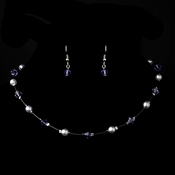 Silver Lilac Necklace Earring 7220