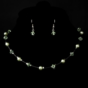 Silver Mint Necklace Earring 7220