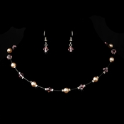 Silver Pink Necklace Earring 7220