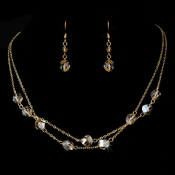 Necklace Earring Set NE 8268 Gold Light Brown