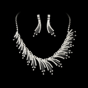 Necklace Earring Set 8278 Silver Clear