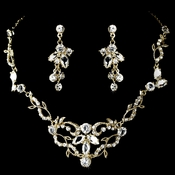 Gold & Clear Crystal Necklace Earring NE 8312 Gold