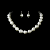 Necklace Earring Set 8325 White