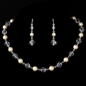 Beautiful Pearl & Crystal Necklace Earring Set N 8352 & E 8352 Silver Ivory