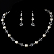 Necklace Earring Set NE 8352 Silver White  (5 Left)
