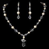 Necklace Earring Set NE 8353 Silver Dark Ivory