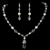 Necklace Earring Set NE 8353 Silver White