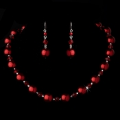 Necklace Earring Set NE 8355 Red
