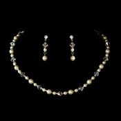 Necklace Earring Set NE 8365 Silver Ivory