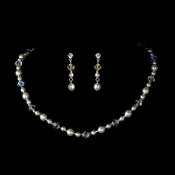 Necklace Earring Set NE 8365 Silver White