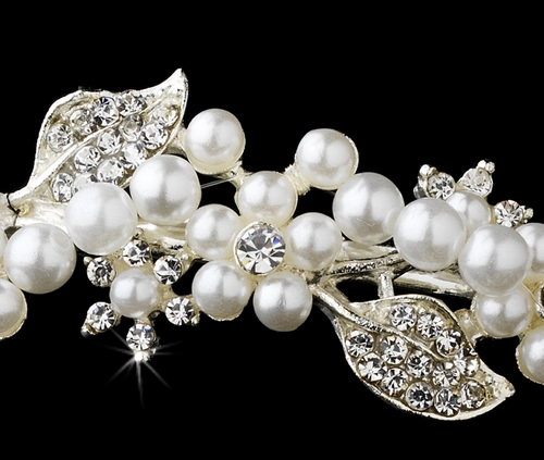 * Headpiece 6226 Antique Silver White Pearl * Discontinued