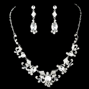 Necklace Earring Set 8411 Silver Clear