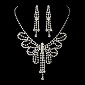 Silver Clear Necklace Earring Set 8464