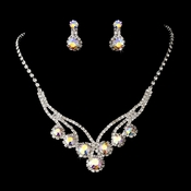Silver AB Necklace Earring Set 8477