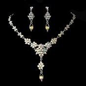Necklace Earring Set NE 902 Silver AB