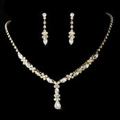 Necklace Earring Set 9235 Gold Clear **Discontinued**