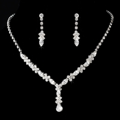 Necklace Earring Set 9235 Silver Clear  **Discontinued**