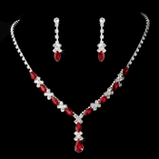 Necklace Earring Set 9235 Silver Red  ** Discontinued***