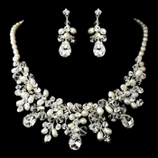 Gorgeous Silver Clear Crystal & Ivory Freshwater Pearl Necklace & Earring Set 9783
