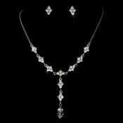 Necklace Earring Set 992 Silver Clear