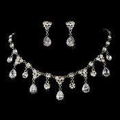 Necklace Earring Set 993 Silver Clear AB