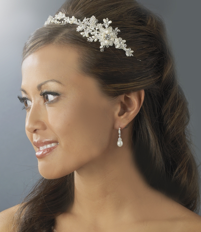 Wholesale Elegant Pearl Amp Crystal Headband Side Accent