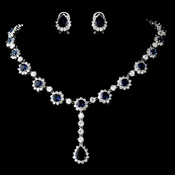 Elegant Floral Rhinestone Necklace & Earring Jewelry Set with Navy Accents N 5063 & E 5397
